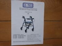Z-TECDeluxe Folding Aluminium 4 Wheel Rollater Walker- Black