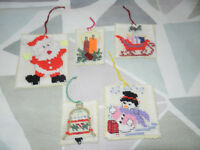 New 5 Handmade Cross Stitch Christmas Decorations