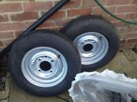 Trailer wheels matching tires 5.5 pcd