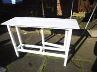 HAND MADE WHITE SLIM DROP LEAF GATE LEG TABLE (OPEN TO OFFERS AROUND £30)