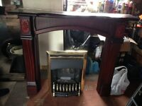 Wooden Fire Surround, Marble back and base with gas fire