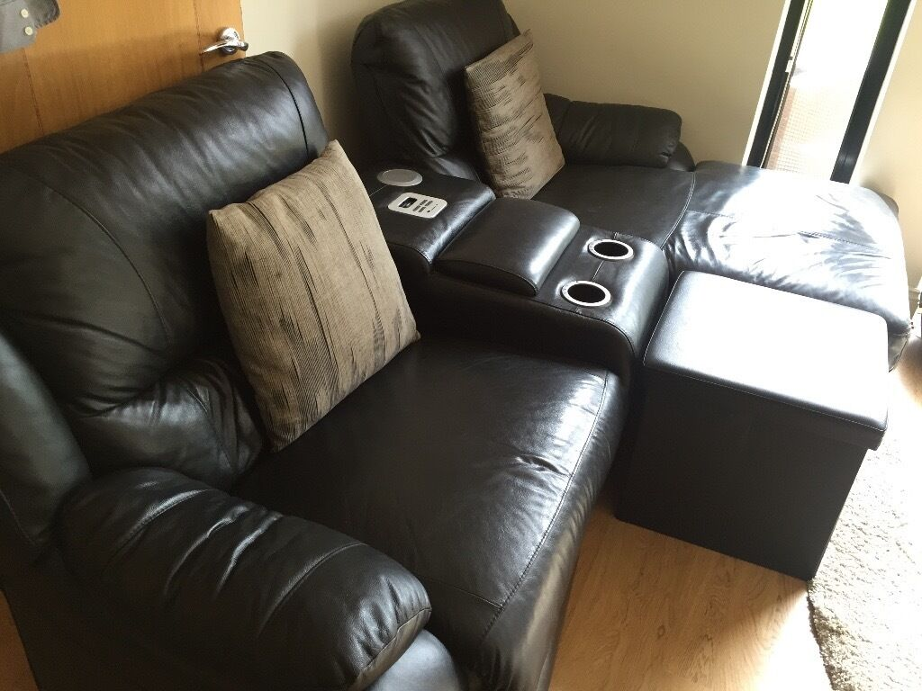 Scs Black Leather Electric Recliner With Drinks Cooler And