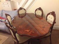 Italian style 6 chair dining table