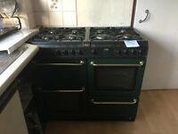 8 hob double oven plus grill - gas range cooker (racing green)