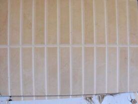 Beige/Honey Scored Wall Tiles 400mm x 250mm x 9mm x 4sqm New