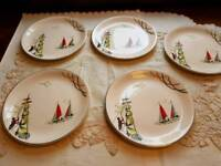 5 x Vintage Alfred Meakin side plates nautical shabby chic