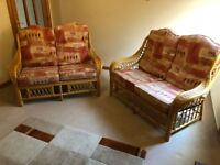Conservatory Cane Suite with matching foot stool