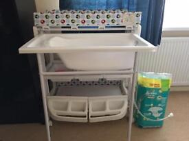 Baby bath nappy change organiser
