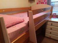 Cabin bed solid wood under bed storage desk and book cases