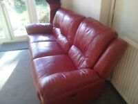 Red Leather Three Seater Electric Reclining Sofa