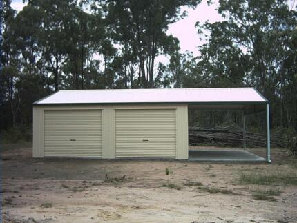 BIG DOUBLE GARAGE + CARPORT 10.5X7X2.7 SHED GARAGE SHEDS LOGAN