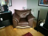 Brown Leather 3 Piece Suite ( 2 large chairs + 3 seat Couch )