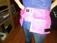 PINK DOUBLE LEATHER TOOL POUCH NEW