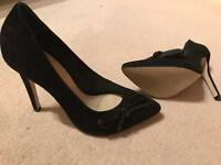 Black real suede shoes - new