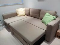 Confortable well kept Corner Sofa convertible into Double Bed with storage