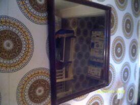 RECTANGULAR MIRROR In WOODEN FRAME 19 by 17 inches , In EXCELLENT CONDITION ++++
