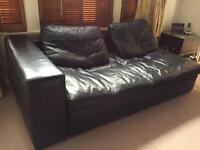 Habitat Sydney black leather right arm sofa bed