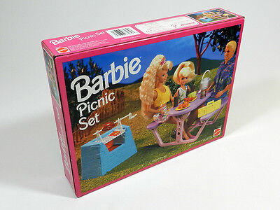NEW SEALED Barbie So Much To Do PICNIC Set Barbecue Grill BBQ Table 1993 Mattel