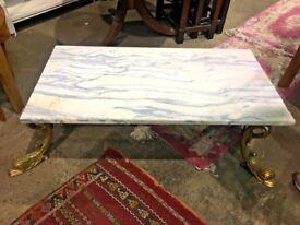 Rectangular Onyx Coffee Table On Decorative Brass Base - Lounge - Conservatory