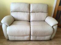 Electric, 2-seater cream leather sofa - NEW, Showroom item