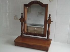 Old pine dressing tablw mirror with carved pillars