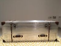 Large Industrial Silver Aluminium Trunk/Coffee Table/ Media Unit