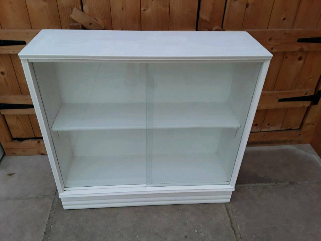VINTAGE WOODEN PAINTED WHITE SLIDING GLASS DOORS FRONTED BOOKCASE ...