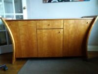 Attractive wood perfect upcycle project sideboard cupboard unusual pretty solid and heavy