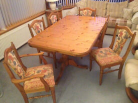 Ducal Antique Pine Dining Table, Chairs, Dresser and Corner Unit