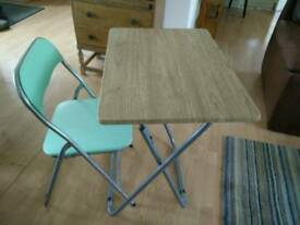 FOLDAWAY DESK/TABLE AND CHAIR EX CON