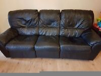 Three seater and two seater black leather recliners