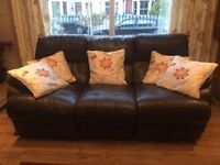 Brown leather recliner sofa 2 and 3 seater suite