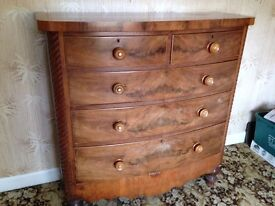 REDUCED - Victorian Antique Flame Mahogany Bow Fronted Chest of Drawers