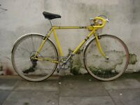 Vintage Mens Road Bike, Yellow, Lugged Steel Frame with Campagnolo Parts, JUST SERVICED/ CHEAP PRICE