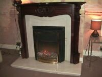 Dimplex electric fire / heater , living flame , with marble back , hearth and mahogany surround