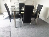 Glass Dining Table and 4 Chairs set, Table size 120 cm with faux leather thick foam padded Chairs