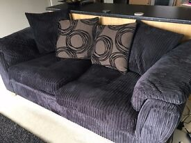 3 Seater Sofa - Black (cord style fabric), great condition