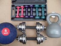 chrome dumbbells - ladies weights - kettle bell - medicine