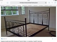 IKEA Noresund Metal Dark Brown Bed Frame With mattress and topper