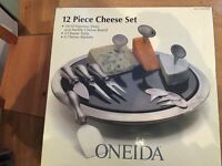 Oneida 12 piece stainless steel and marble cheeseboard + utensils gift; UNOPENED