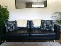 Ikea black leather sofa three seated