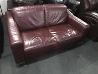 Wine leather 2 seater sofa