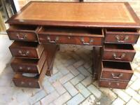 MAHOGANY REPRO ANTIQUE DESK 40 Yrs old WELL USED HENCE £100