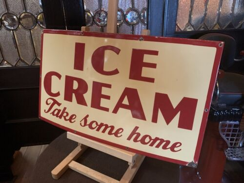 "28"" ICE CREAM Porcelain Advertising Sign  ""Watch Video"""