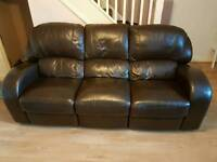 3 Seater Reclining Leather Settee