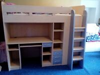 Combination bed with desk, wardrobe, drawers, shelves etc.... 2 for sale, price each.