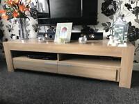 Oak veneer tv unit and matching sideboard