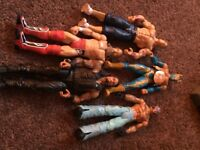 Selection of WWE wrestling figures and launcher