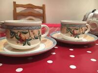 2 cappuccino cups and saucers Golden Pears