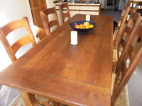 Oak Refectory/dining table and 6 chairs